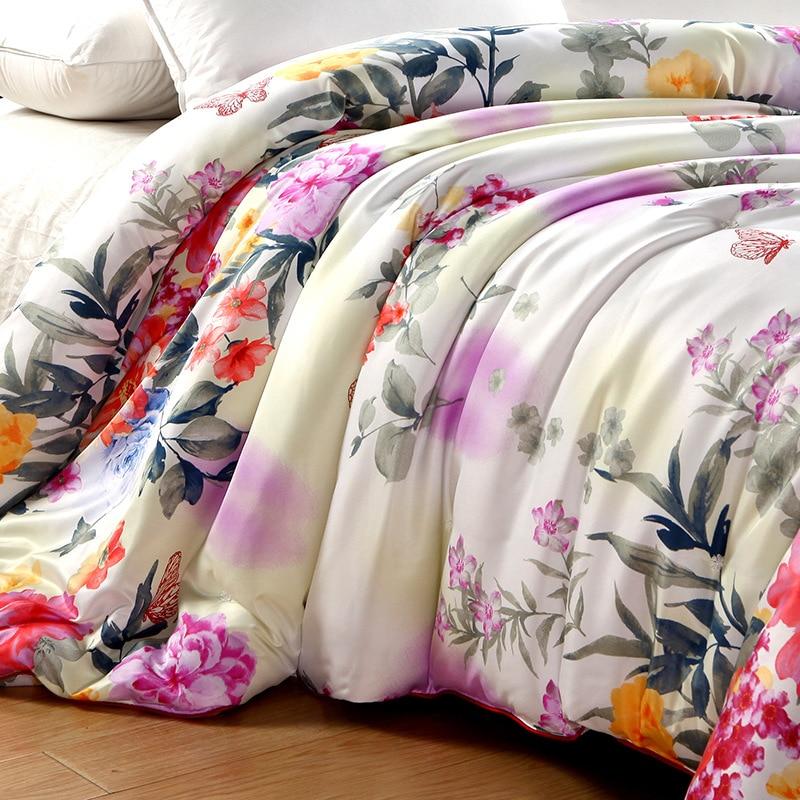 3D ดอกไม้พิมพ์ผ้าไหมหม่อนผ้าห่มฤดูใบไม้ผลิฤดูใบไม้ร่วง Warm Soft Patchwork Quilt Twin Full Queen King Size ผ้าคลุมเตียงผ้านวมสำหรับเตียง-ใน ผ้าคลุมเตียง จาก บ้านและสวน บน   2