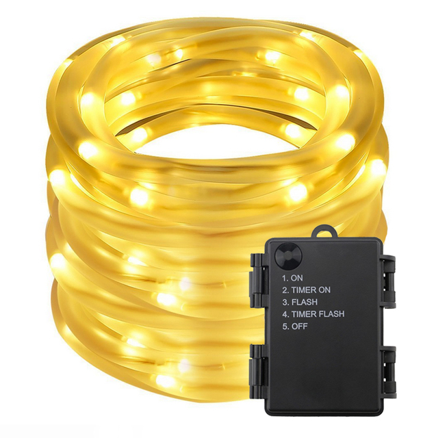 10m 100leds battery powered led rope tube string lights waterproof