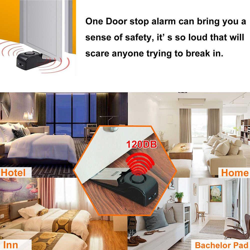 Stainless Steel 120dB Nirkabel Pintu Berhenti Slot Pintu Alarm Anti Pencurian Pencuri Sistem Peringatan Rumah Aman Keamanan Deteksi Wedge