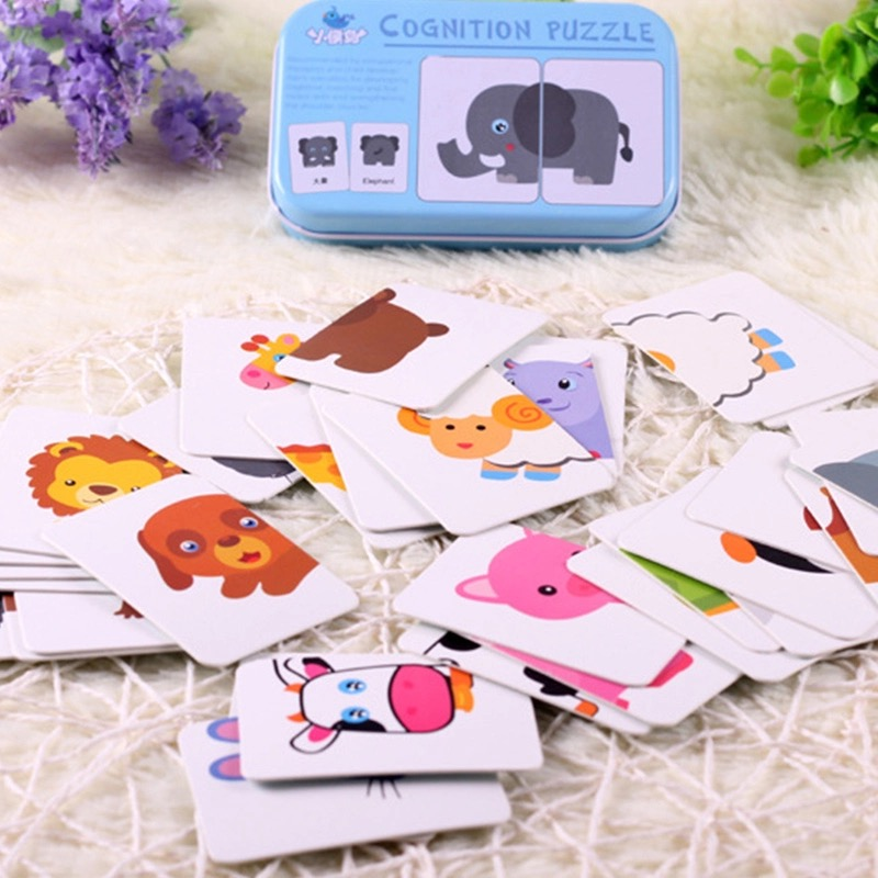 Baby Kids Match Cognition Puzzle Game Toddler Iron Box Cards Matching Game Puzzle Card For Fruit Animal Life Set Pair Puzzle