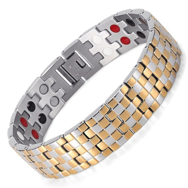 Silver Gold Classic Bracelet For Men Bio Health Healing Bracelet&Bangle Double Line Infrared Ion Magnet Germanium Energy Jewelry