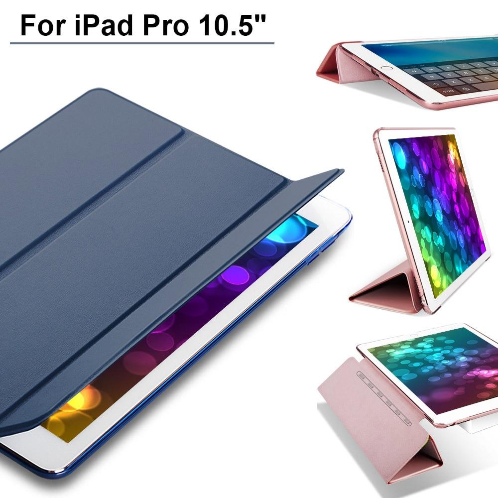 Pour le Nouvel iPad 2017 iPad Pro 10.5 pouce Cas Ultra Mince Smart cas 3 Pliant Stand Veille Automatique/Sillage de Couverture Arrière Pour Apple iPAD 10.5