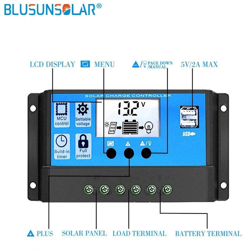 10А/20А/30А 12В 24В автоматический контроллер заряда PWM с ЖК-панелью солнечных батарей регулятор PV дома