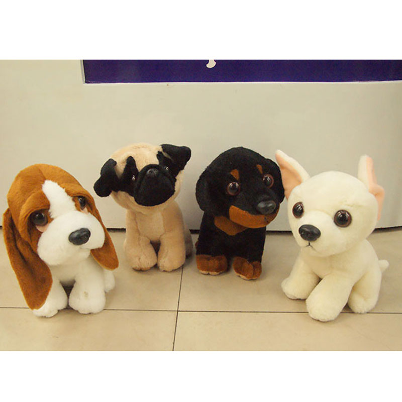 (1 Piece) 18CM Small Cute Dogs Plush Simulation Animals Stuffed Toys for Children Kids Gifts Puppy Pet Toy Basset Shar-pei pug stuffed dog plush toys black dog sorrow looking pug puppy bulldog baby toy animal peluche for girls friends children 18 22cm