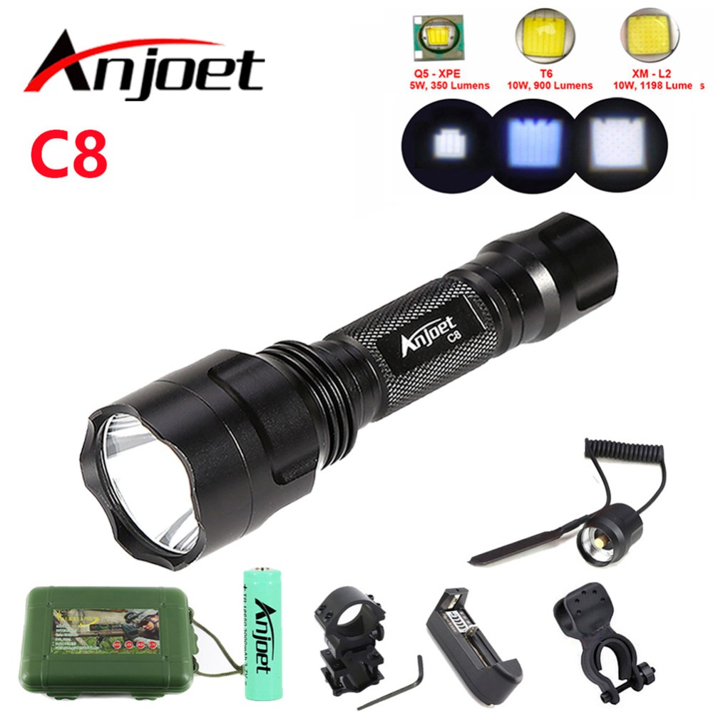 kit tactical flashlight CREE XML T6 Q5 L2 LED 1198LM Aluminum Torches Lamp Rechargeable 18650 Battery for Camping Hiking Cycling
