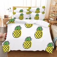 Cartoon Pineapple 3d Set di Biancheria Da Letto Dolce Stampato Frutta Lenzuolo Morbido In Microfibra Copripiumino Biancheria Da Letto del Bambino Presa Dropshipping F