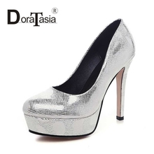 DoraTasia Big Size 32-42 Sexy Women Animal Skin Printed Upper High Heels Party Wedding Shoes Round Toe Platform Pumps