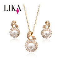 LIKA Fashion Flowers Jewelry Sets Full Rhinestone Gold Silver Color Pearl Jewelry Accessories Wedding Jewelry For