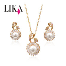 LIKA Fashion Flowers Jewelry Sets Full Rhinestone Gold Silver Color Pearl Jewelry Accessories Wedding Jewelry For Women Gift New(China)