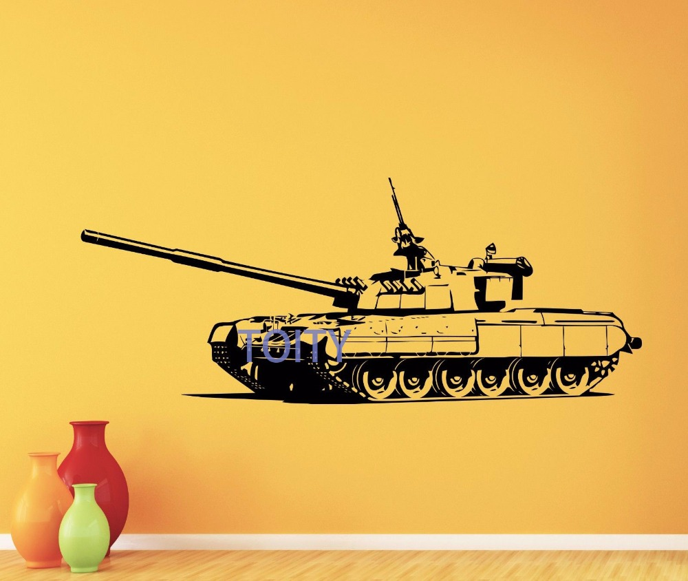 Tank Wall Decal War Panzer Army Military Vinyl Sticker Kids Room Art ...