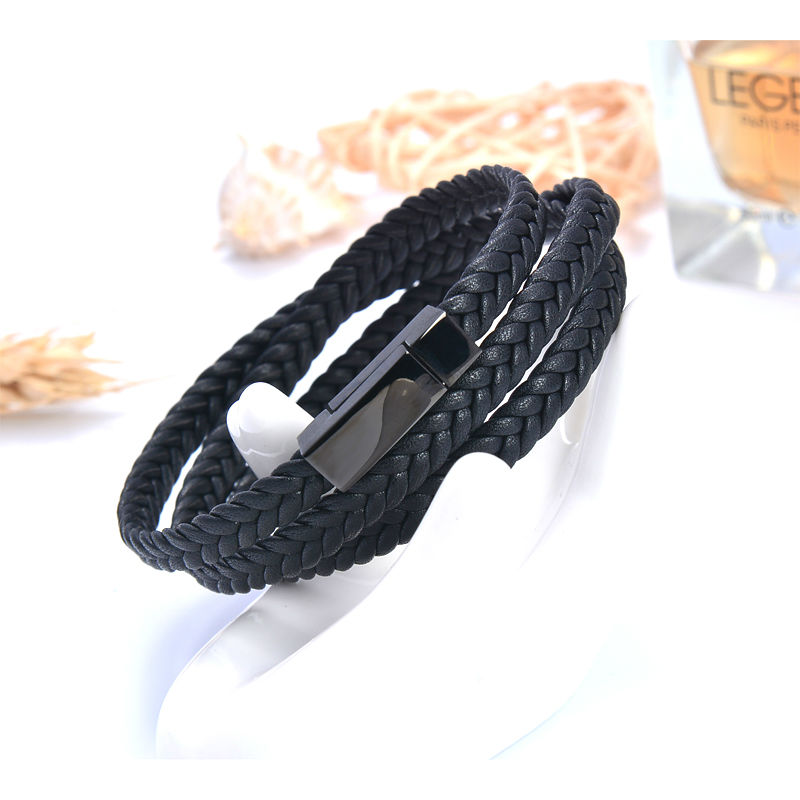 Stainless Steel leather Magnet Bracele jewelry Bangles Three layers ...