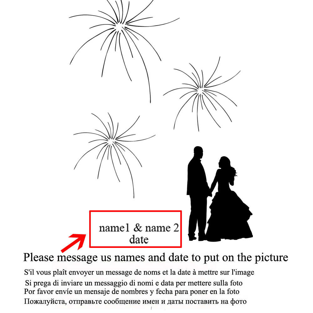 Bride and Groom Under the Fireworks,Personalized Fingerprint Guestbook for Engagement Party and Wedding,Canvas Print Guest Book