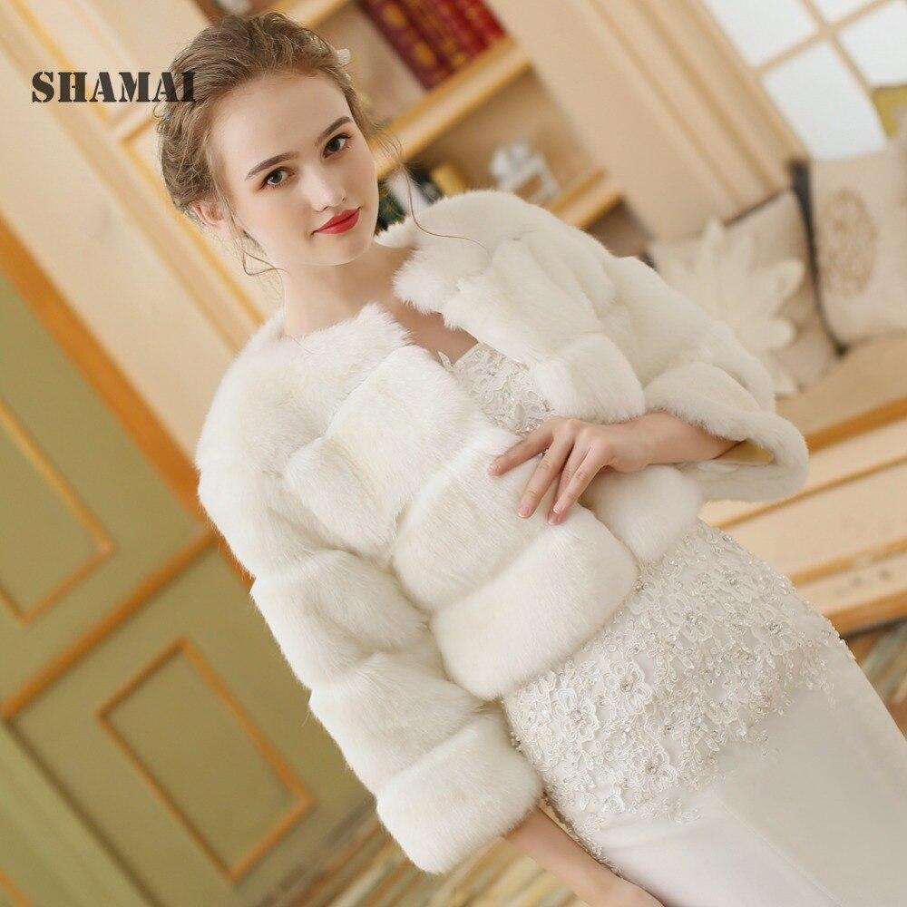 SHAMAI Free Shipping Women Winter 3/4 Long Sleeve Bridal Jackets Warm Fur Boleros Wedding Shrug Stole Faux Fur Bridal Jacket