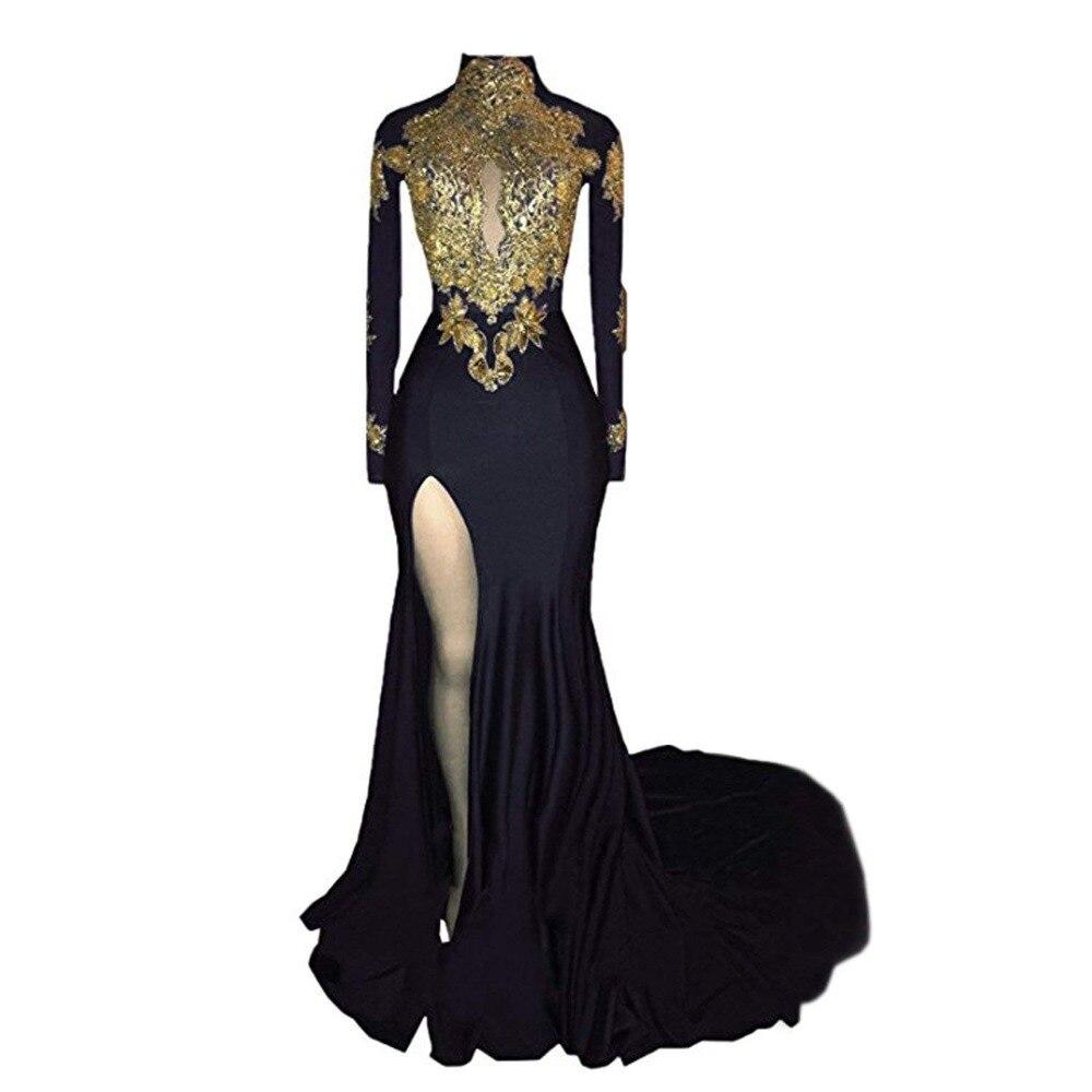 Women's   Evening     Dress   High Neck Prom   Dress   Gold Appliques Long Sleeves Split   Evening   Gowns robe de soiree mermaid Party   Dresses