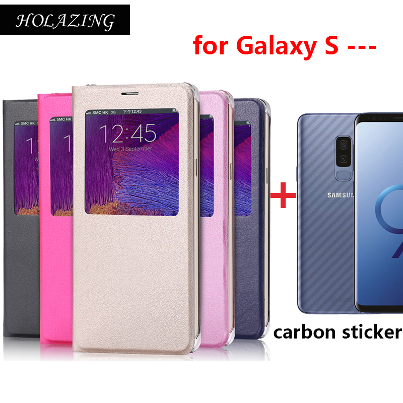 Lot Back Carbon Sticker & Folio Flip Window View PU Leather Cover for Samsung Galaxy S9 Plus S8 S7 Edge Full Stand Case