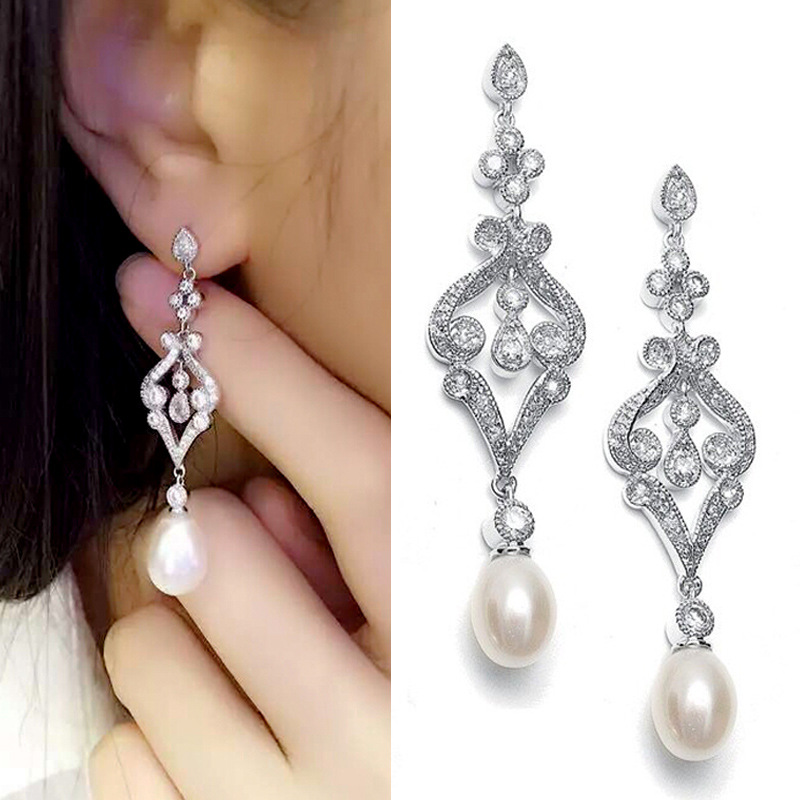 Stunning Vintage Cz Crystals Ivory Pearl Aaa Grade Fashion Cubic Zirconia Earring Wedding Dangle Pearls Earrings Bridal In Drop From