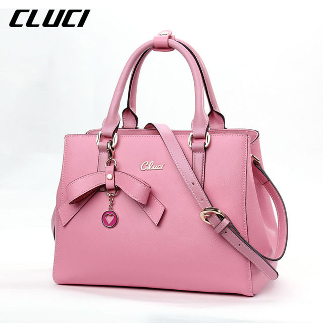 ea6baf9c4 Cluci Bow lantejoulas cadeias mulheres ombro saco Crossbody bolsas  femininas genuíno bolsa de couro rosa do