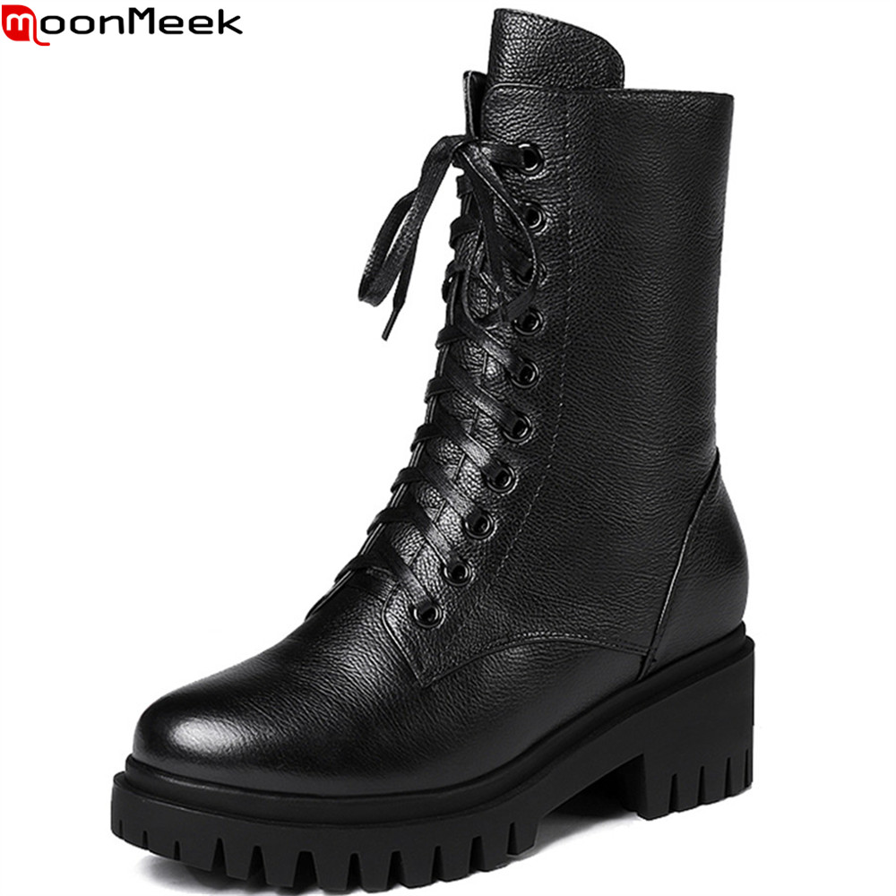 MoonMeek 2018 fashion women boots black round toe zipper ladies genuine leather boots square heel cow leather ankle boots цена 2017