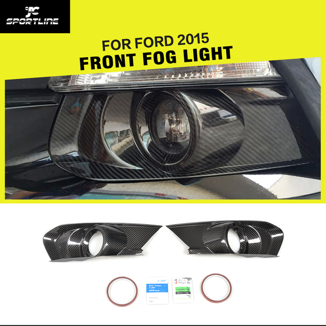 Carbon Fiber Racing Car Front Fog Light Cover Caps for Ford Mustang Coupe Convertible 2-Door 2015 - 2017