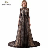 NOBLE WEISS Sexy A Line Evening Dresses With 3 4 Sleeves Black Lace Prom Gown Robe