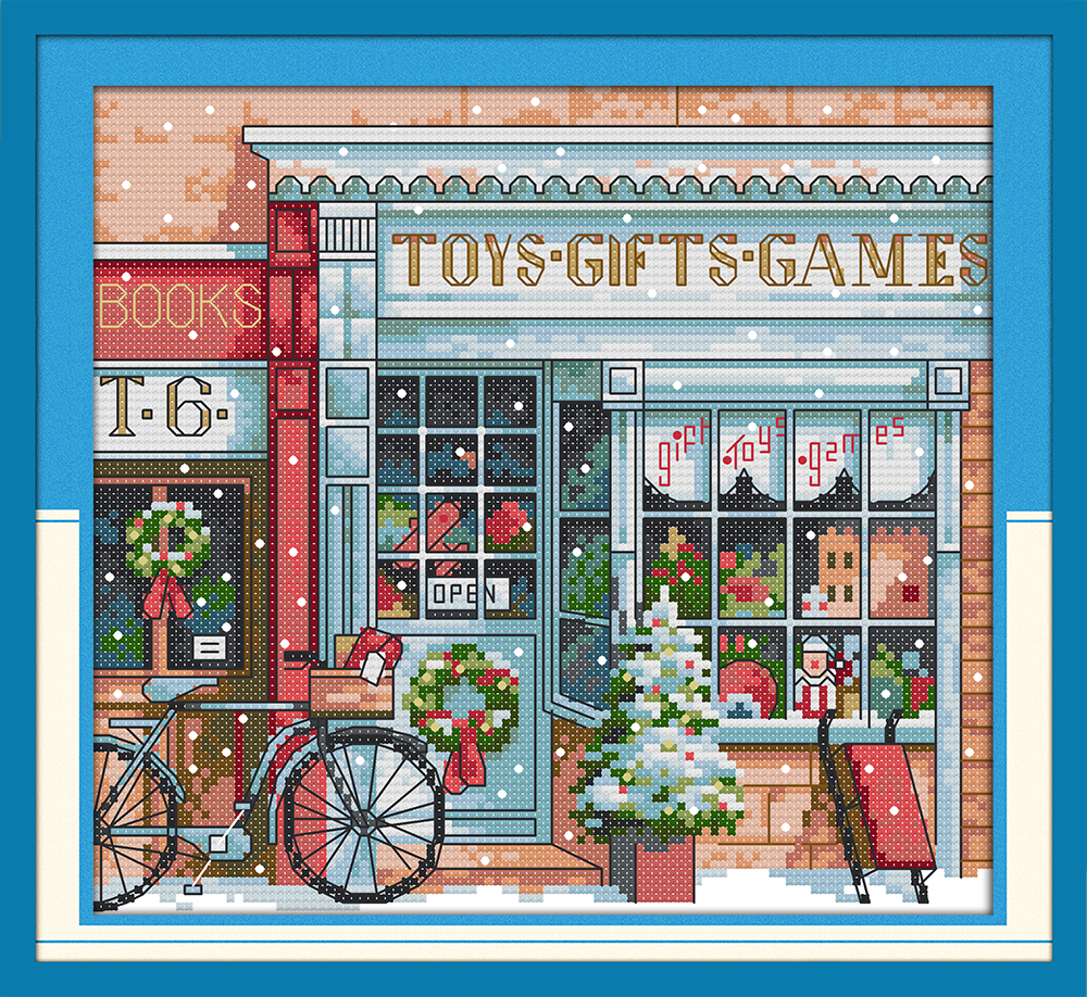 Gift Toy Shop Cross Stitch Canvas Kit Building City Pattern DMC Color Cotton Stitches Embroidery DIY Handmade Needlework Plus