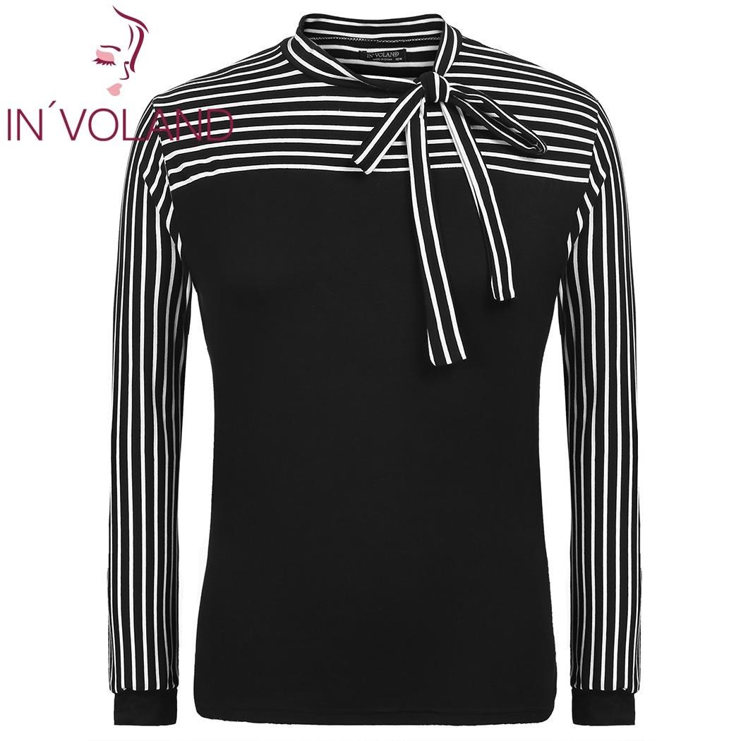 IN'VOLAND Plus La Taille Femmes T-Shirt Tops XL-5XL Printemps Automne Cravate-Arc Cou Manches Bouffantes À Rayures Slim Fit Pull T-shirt grande Taille