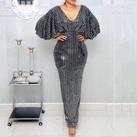 Summer Sexy Club Luxury Gray Party Women Long Pencil Dresses Tunic High Waist Backless Female Sequin Glitter Evening Maxi Dress