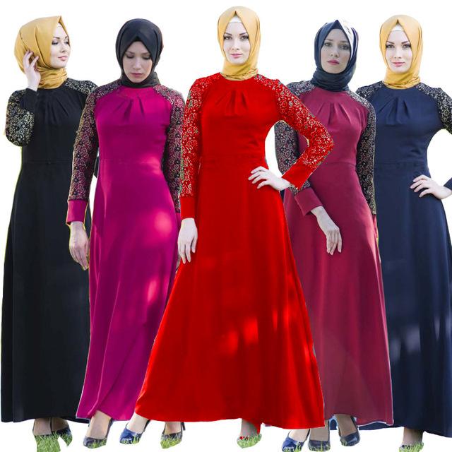 2016 Apliques de Encaje Nueva Ropa Bata Turquía y Oriente medio Musulmán Árabe Caftán Abayas Jilbabs Mujeres se Visten de Moda de Gran Tamaño