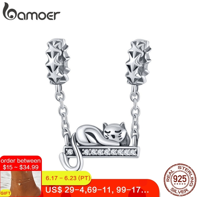 BAMOER 925 Sterling Silver Adorable Cat Star Charms Star Pave Charm Fit Bracelet & Necklaces DIY Jewelry Christmas Gift SCC856