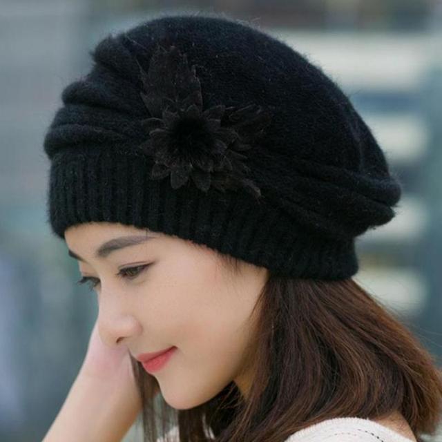 7c76b53de21 Women Winter Wonderful Fashion Unique Elegant Lovely Warm Comfortable Solid  Cony Hair Flower Knit Crochet Beanie