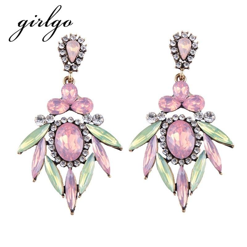 Girlgo Romantic Drop Dangle Earrings for Women font b Luxury b font Maxi Statement Earrings Fashion