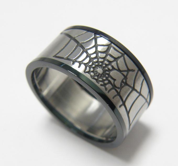 Free shipping wide 8mm Punk Titanium ring stainless steel jewelry love creative cobweb men jewelry wedding rings fine jewelry