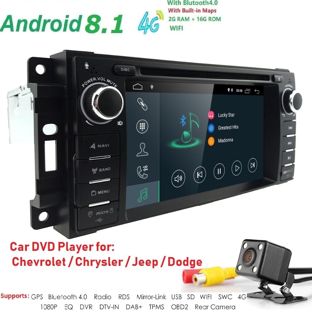 1 din Auto Radio Android 8.1 Lecteur DVD de Voiture Pour Chrysler 300c jeep Compass/Dodge/RAM/Grand cherokee Altercation GPS Navi Unité de Tête
