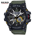 Read marca del deporte militar ronda dial analógico digital de gran escala relojes de pulsera azul Back Light correa de resina de Alta calidad hombres