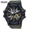 Read marca esporte militar round dial grande balança digital analógico cinta relógios de pulso de Luz de Fundo azul para a resina de Alta qualidade homens