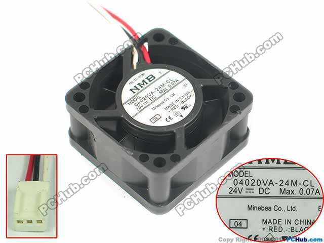 NMB-MAT 04020VA-24M-CL 04 Server Square Fan DC 24V 0.07A 40x40x20mm 3-wire emacro for nonoise a8025h24b server square fan dc 24v 0 095a 80x80x25mm 2 wire