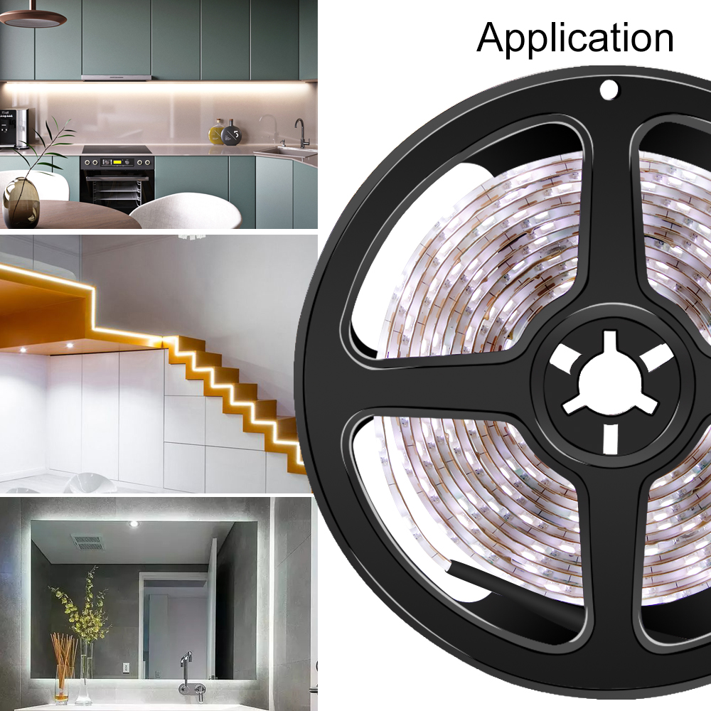 5M Led Strip Light 2835 SMD DC5V Flexible Waterproof Kitchen Strip Lamp Led Light Tape fita Ribbon Stairs Under Cabinet Lighting in LED Indoor Wall Lamps from Lights Lighting