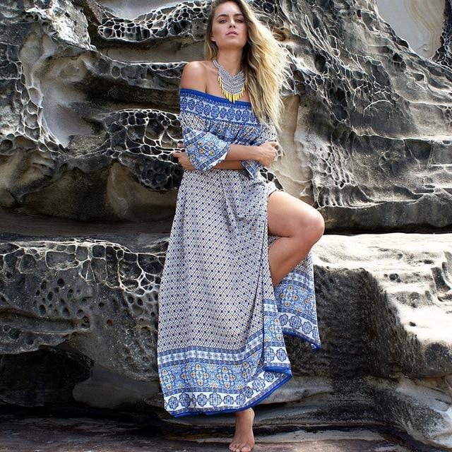 Women  Bohemia dresses Ladies sexy Casual Off the shoulder Long Maxi Beach Dress