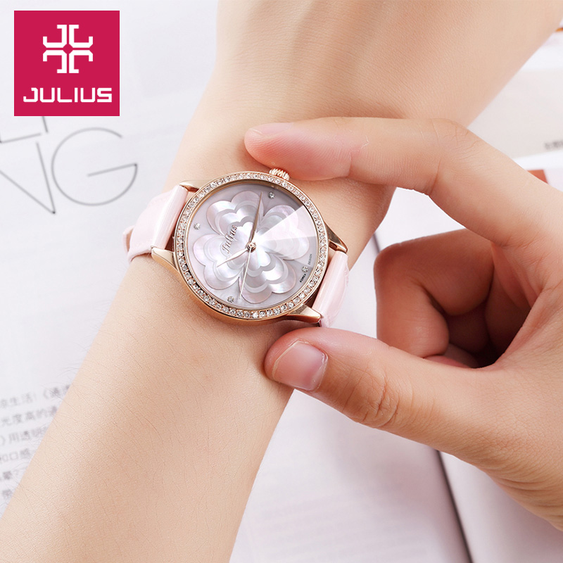 New Julius Lady Women's Wrist Watch Retro Fashion Hours Dress Bracelet Shell Clover Leather Girl Birthday Valentine Love Gift top julius lady women s wrist watch elegant shell retro fashion hours bracelet leather girl birthday gift