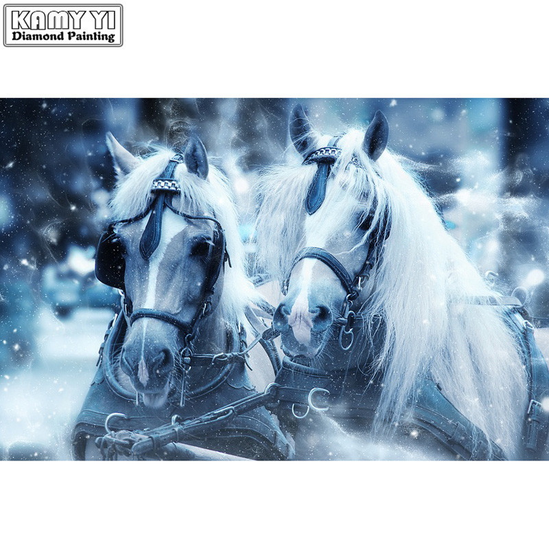 3D Needlework Diy Diamond Painting Snow Horses Diamond Embroidery Full Pasted Decorative Wall Stickers Cross Stitch Crafts
