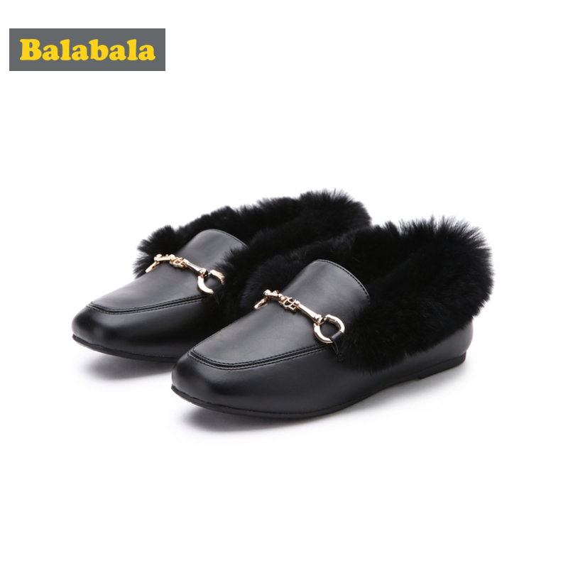 Balabala Girl Fur-Lined Mules For Toddler Girl With Metal Detail At Top PU Leather Slippers Loafters Easy Slip On Anti-Slip Sole
