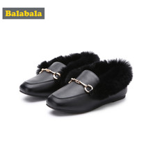 Balabala Girl Fur-Lined Mules for Toddler Girl with Metal Detail at Top PU Leather Slippers Loafters Easy Slip On Anti-Slip Sole(China)