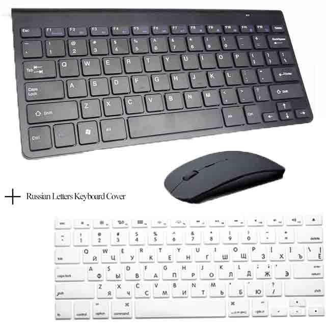 Портативный Mute ключи Клавиатуры 2.4 г Сверхтонкий Беспроводной клавиатура и Мыши набор для MAC Win XP 7 10 Vista Android ТВ коробка - Цвет: Black Keyboard Cover