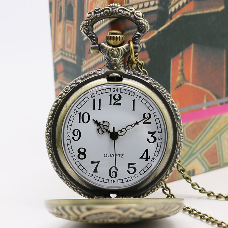 Retro Mænds Pocket Watch Bronze Train Front Locomotive Engine Quartz - Lommeur - Foto 5