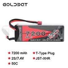 2UNITS GOLDBAT  7200mAh LiPo Battery 2S 50C LiPo Battery for RC lipo with T Plug for RC Car Truck Tank Losi Traxxas Slash Truggy
