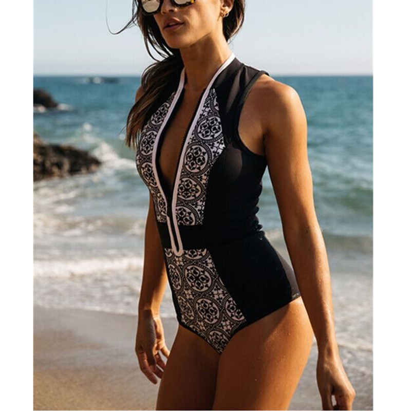 2017 Sexy High Cut Ladies Sexy Retro Printing Zipper Bikini V Collar One-Piece Bandage Swimsuits With Cup M17091