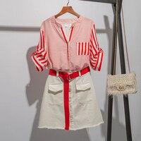 Fashion Two piece Set Red Stripe Women Clothes Korean Womens White Denim Suits Single Breasted Drawstring Loose 2 Set Woman