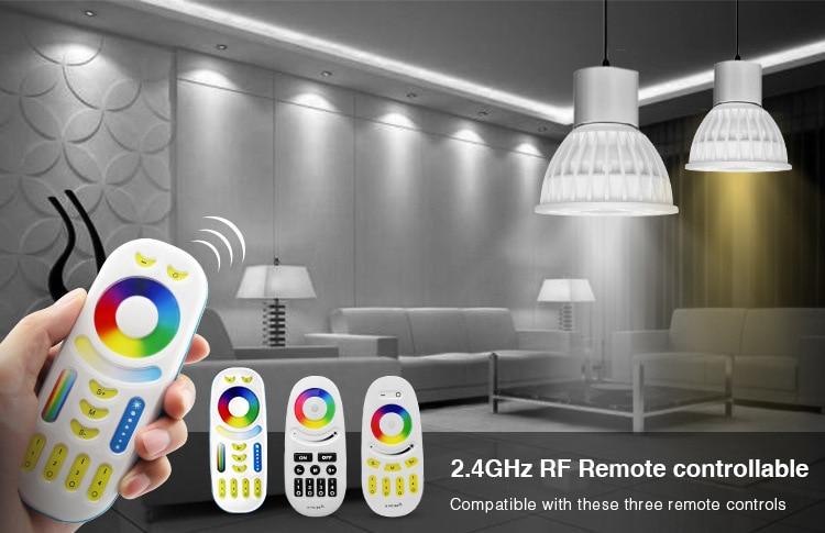 4 W Km ampoule LED Lampe Dimmable MR16 GU10 RVB CCT (2700-6500 K) 4 pièces RVB Projecteur + 1 PC 2.4G RF télécommande LED