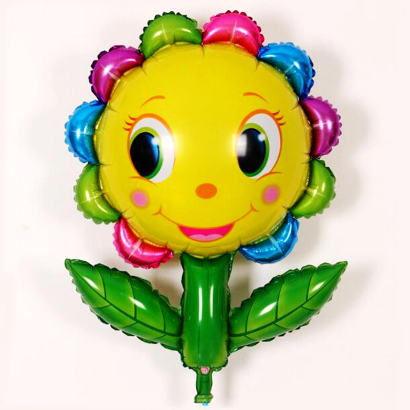 20pcs Colorful Sunflowers Green Leaf Smiling Face Foil Balloons Child  Birthday Wedding Party Decoration Supplies Baby