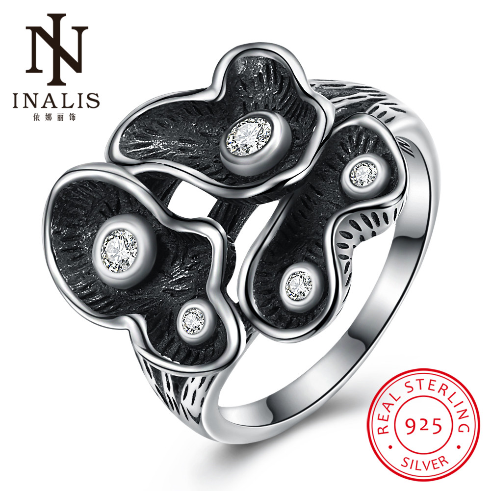 INALIS Fashion Black 925 Sterling Silver Zircon Rings Female Fine Jewelry Gift for Women Party Accessories Mothers Day